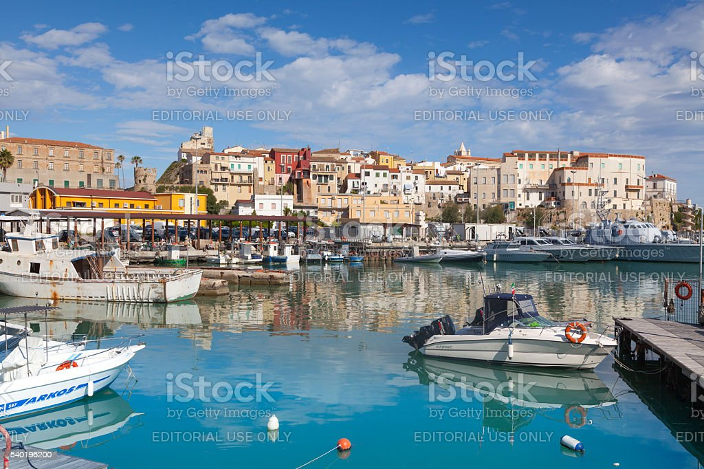 View from the harbor towards the old town of Termoli stock photo