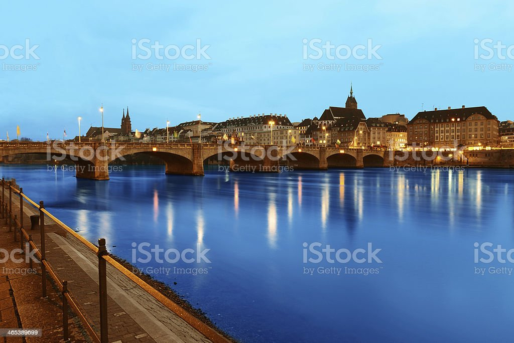 View from the harbour of Basel, Switzerland at dusk stock photo
