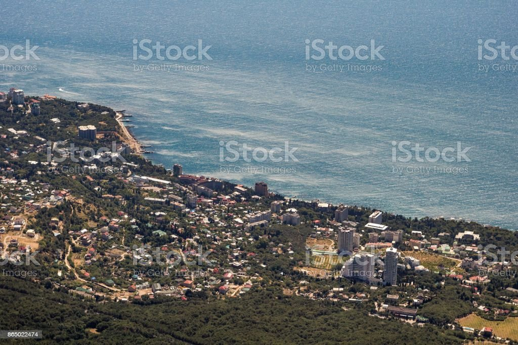 view from the height of the resort town of Yalta and the Black Sea from the mountains of Ai-Petri stock photo