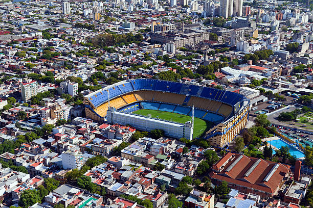 View from the helicopter for La Boca, Buenos Aires, Argentina stock photo