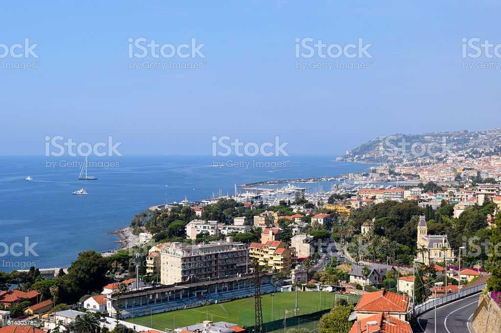 view from the hill town of Sanremo stock photo