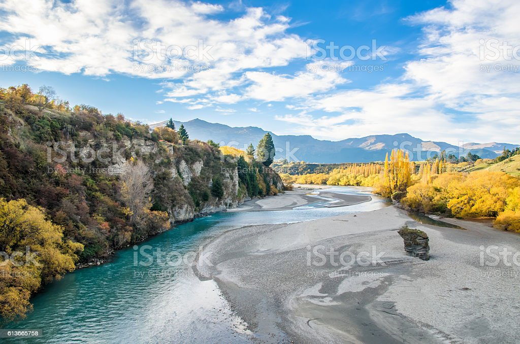 View from the Historic Bridge over Shotover River in Arrowtown stock photo