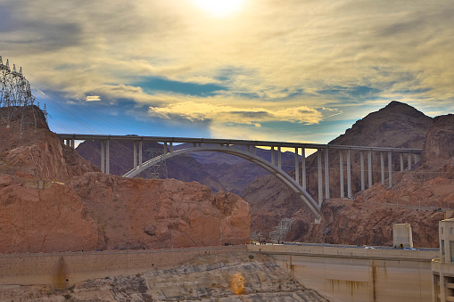 View from the Hoover Dam of the downstream Mike O'Callaghan-Pat Tillman Memorial Bridge, which spans the Colorado River between Nevada and Arizona