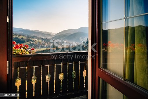 istock View from the hotel windows on the mountain alpine village 946294510