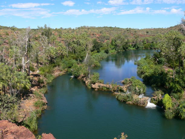View from the Indarri Falls lookout in the Boodjamulla National Park in Queensland stock photo