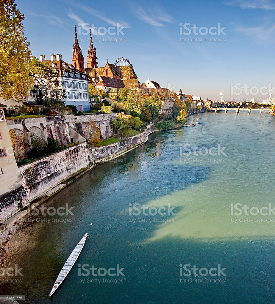 View from the lake of the city of Basel in Switzerland stock photo