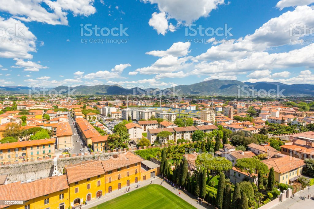 View from the  Leaning Tower in Pisa royalty-free stock photo