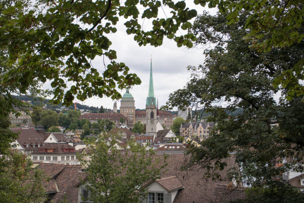 view from the lindenhof zürich - zurigo foto e immagini stock