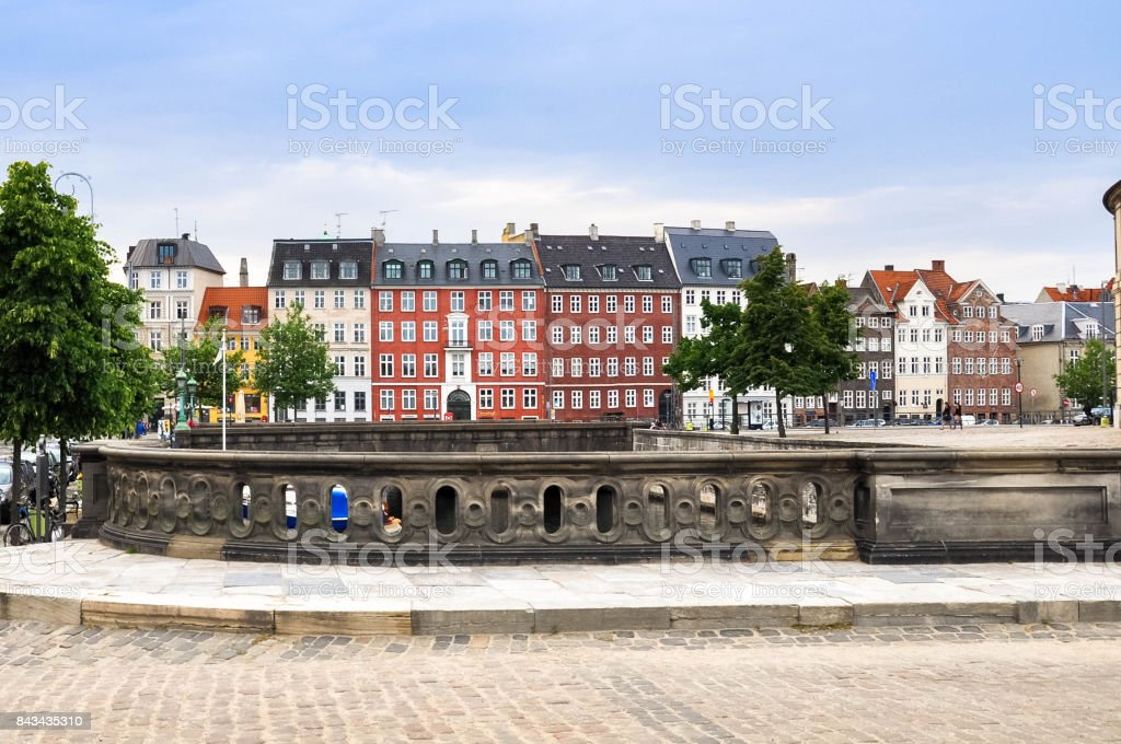 view from the Marble Bridge in the oldest part of Copenhagen stock photo