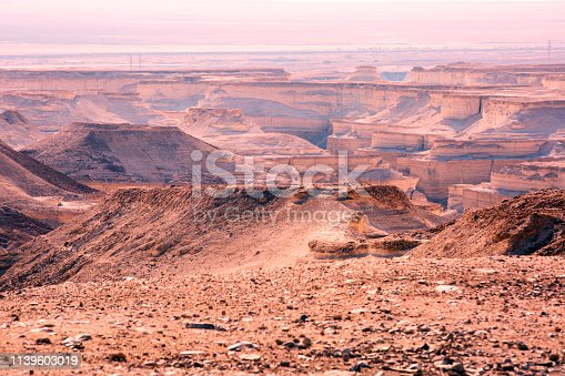 View from the Masada on the desert on a sunny day.
