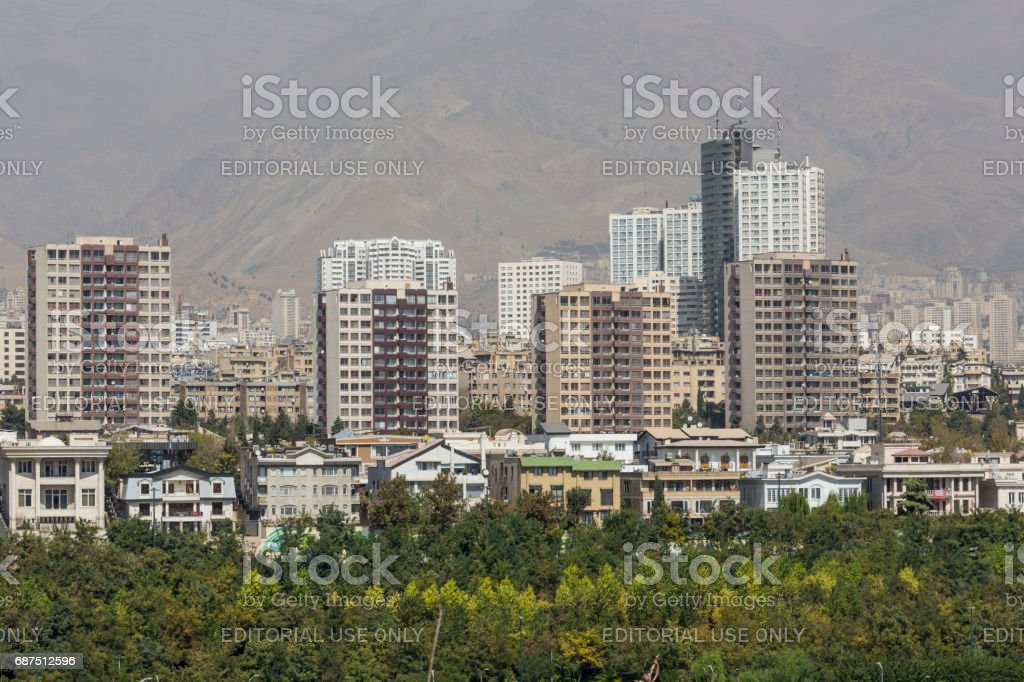 TEHERAN, IRAN - OCTOBER 05, 2016: View from The Milad Tower in Tehran, Iran. stock photo