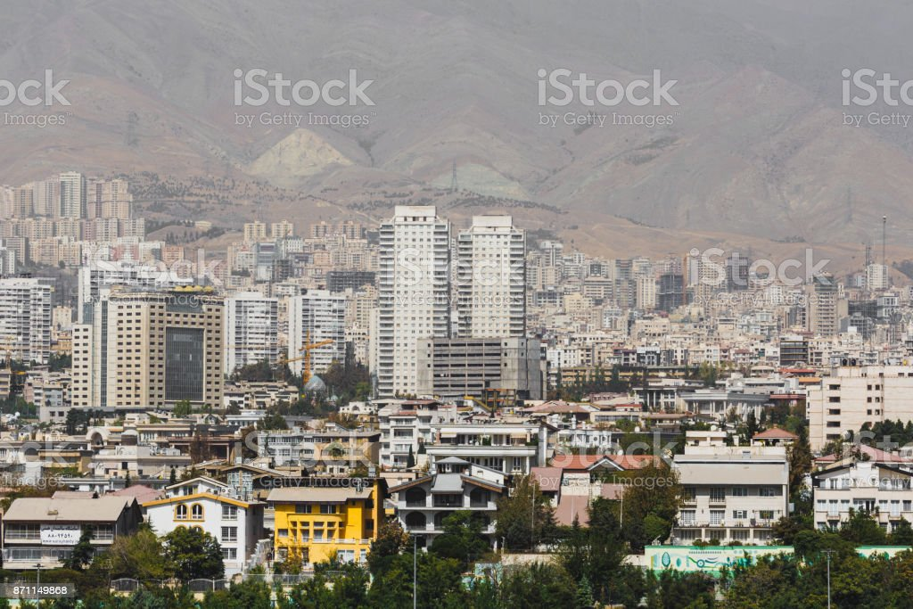 View from The Milad Tower in Tehran, Iran. stock photo