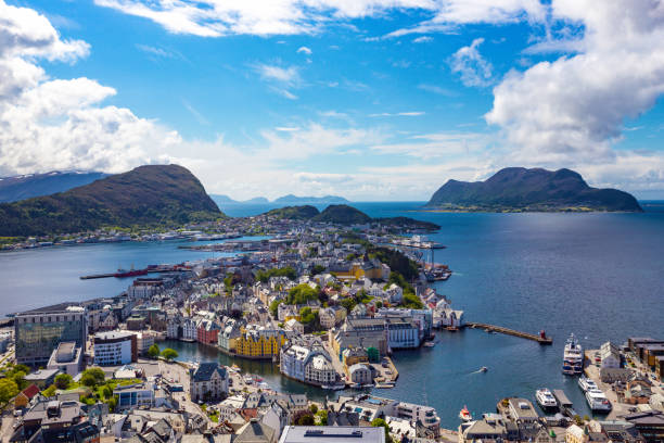 view  from the mountain Aksla at the city of Alesund , Norway