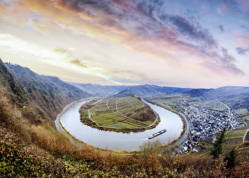 View from the mountain at the river Mosel by Moselschleife in Bremm a small village alongside the Mosel river, Germany
