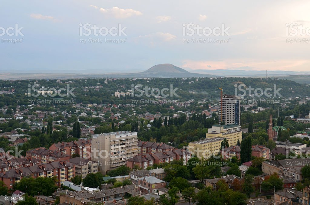 View from the mountain to the village Mashuk stock photo