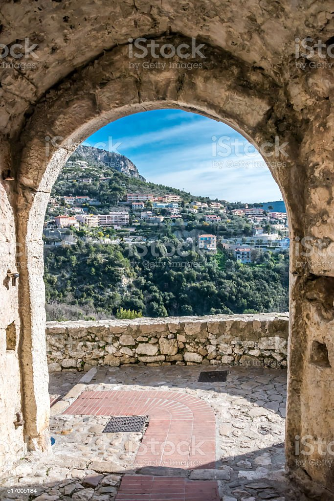View from the Mountain Top Village of Eze stock photo