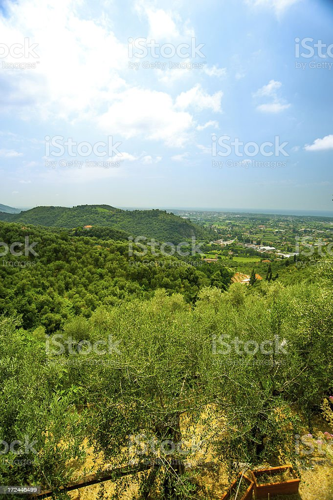 View from the mountains out of Pietrasanta. royalty-free stock photo
