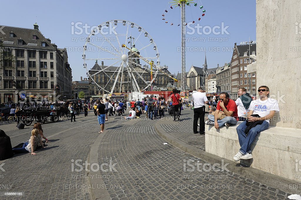 View from the National Monument at a carnival, Dam Square royalty-free stock photo