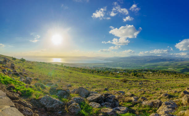 View from the north of the Sea of Galilee View from the north of the Sea of Galilee (Kinneret Lake). Northern Israel historical palestine stock pictures, royalty-free photos & images