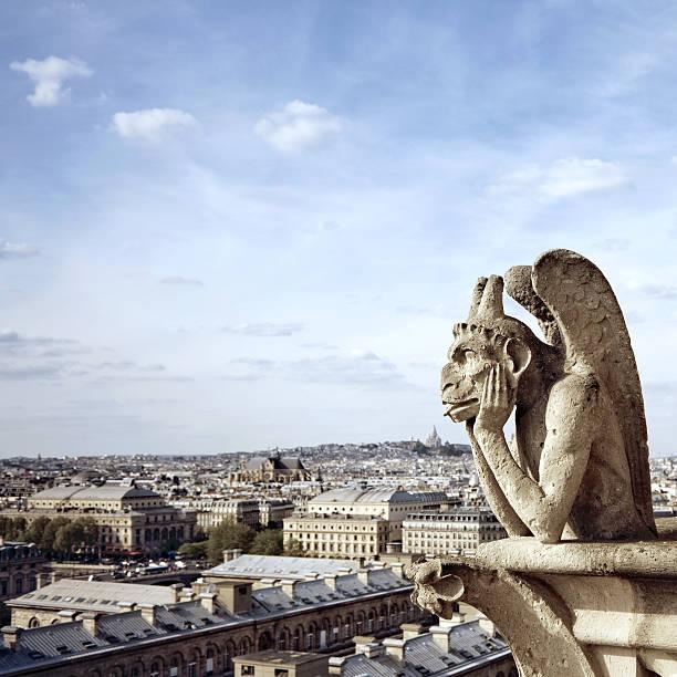 view from the notre dame, paris - montmatre utsikt bildbanksfoton och bilder