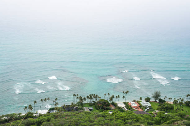 view from the peak point of Diamond Head in Oahu, Hawaii, US stock photo