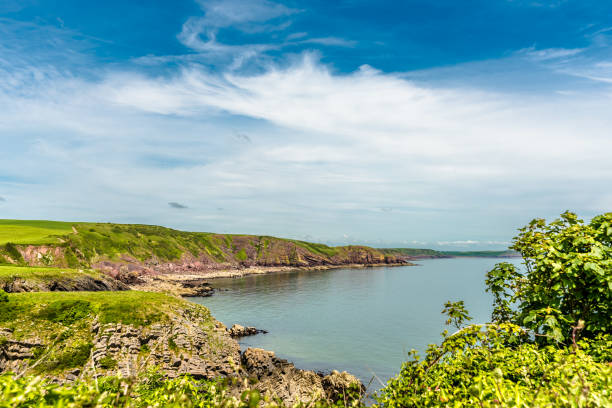 View from the Pembrokeshire coastal path stock photo