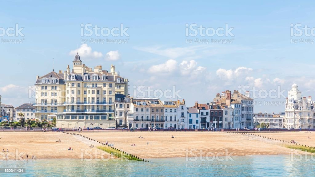 View from the  pier on the skyline of Eastbourne, Sussex, United Kingdom stock photo