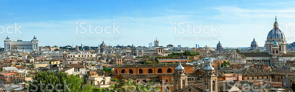 View from the Pincio Landmark in Rome, Italy stock photo