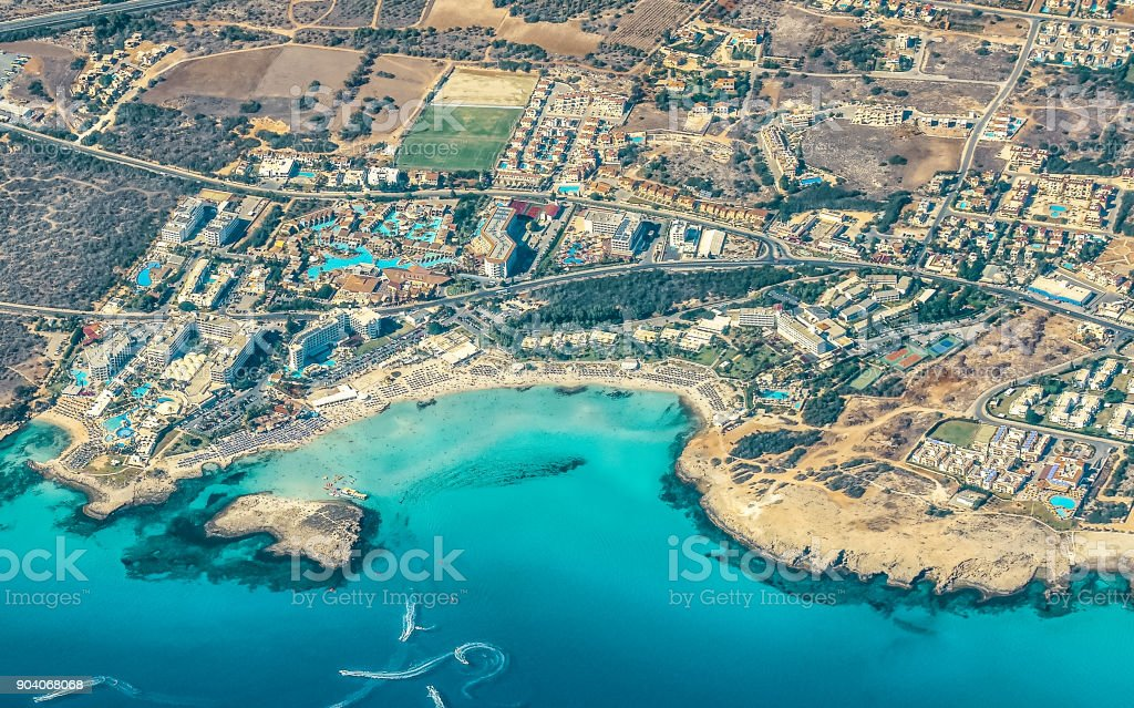 View from the plane to Ayia Napa - the best resort of Cyprus, Nissi beach, the gotels, gulfs, parks. stock photo