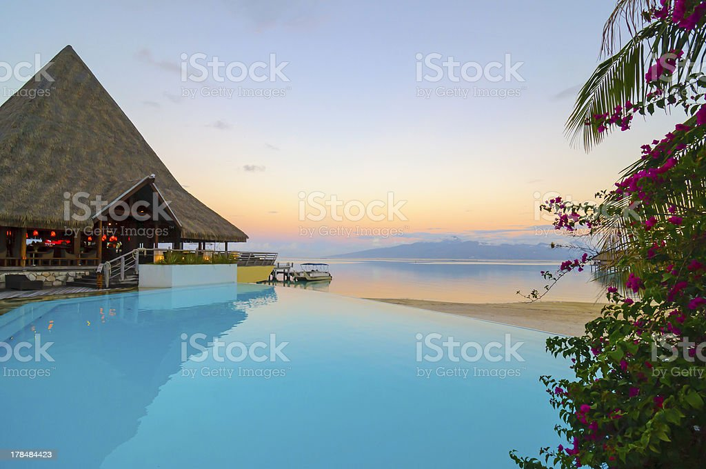View from the pool. stock photo
