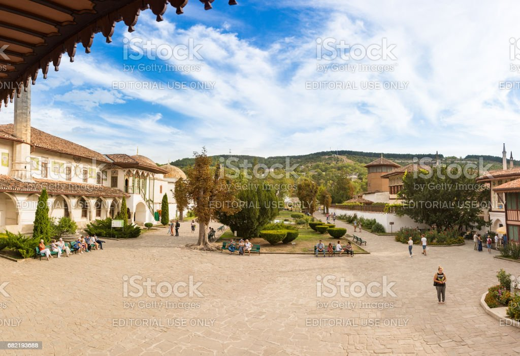 View from the porch of the Khan's Palace (Khan-Sarai) in the courtyard. stock photo