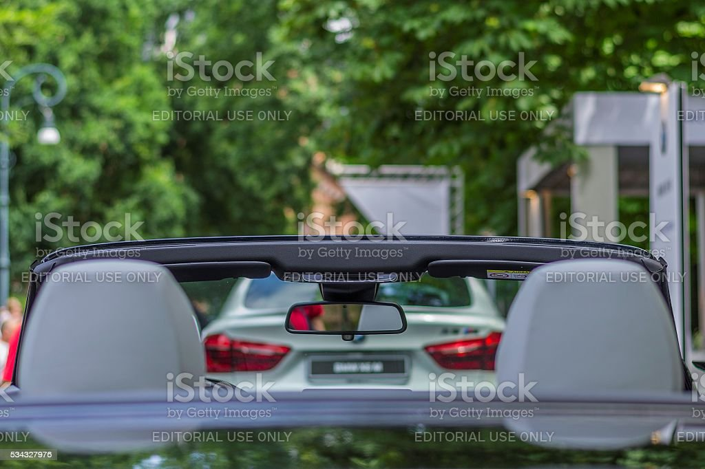View from the rear of a cabrio sports car stock photo