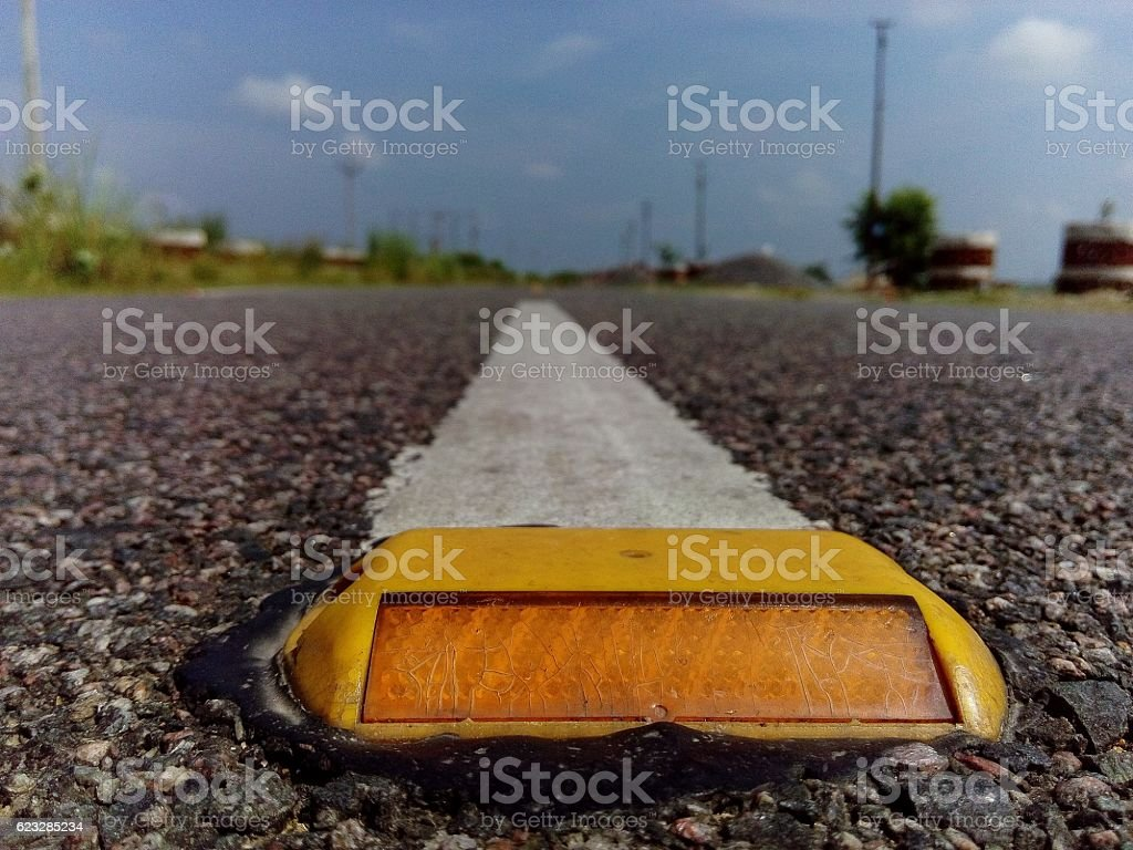 View from the reflectors on the road stock photo