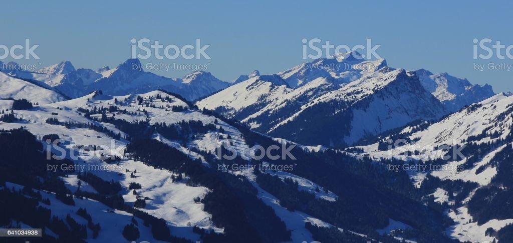 View from the Rellerli ski area, Switzerland stock photo