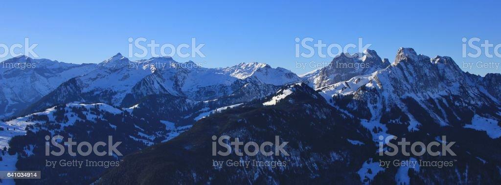View from the Rellerli ski area towards mount Oldenhorn stock photo