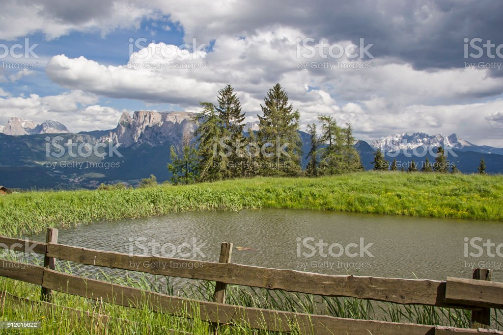 View from the Ritten to the Dolomites stock photo