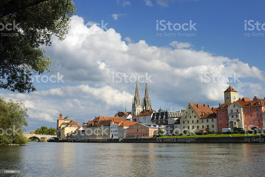 View from the river in Regensburg stock photo