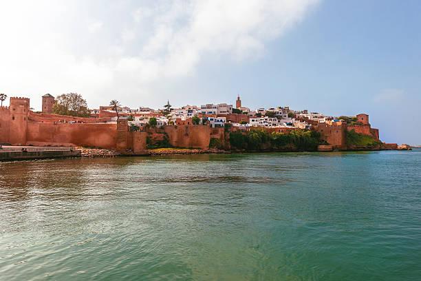 view from the river to the medina rabat historical medina, - rabat marocko bildbanksfoton och bilder