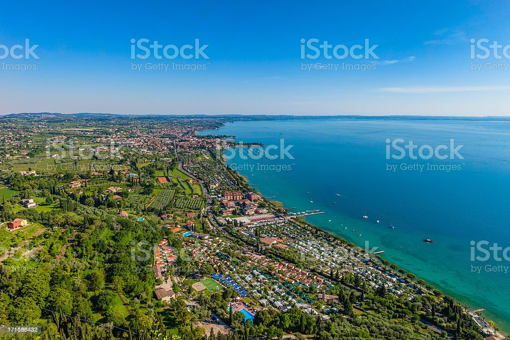 View from the Rocca di Garda, Italy stock photo