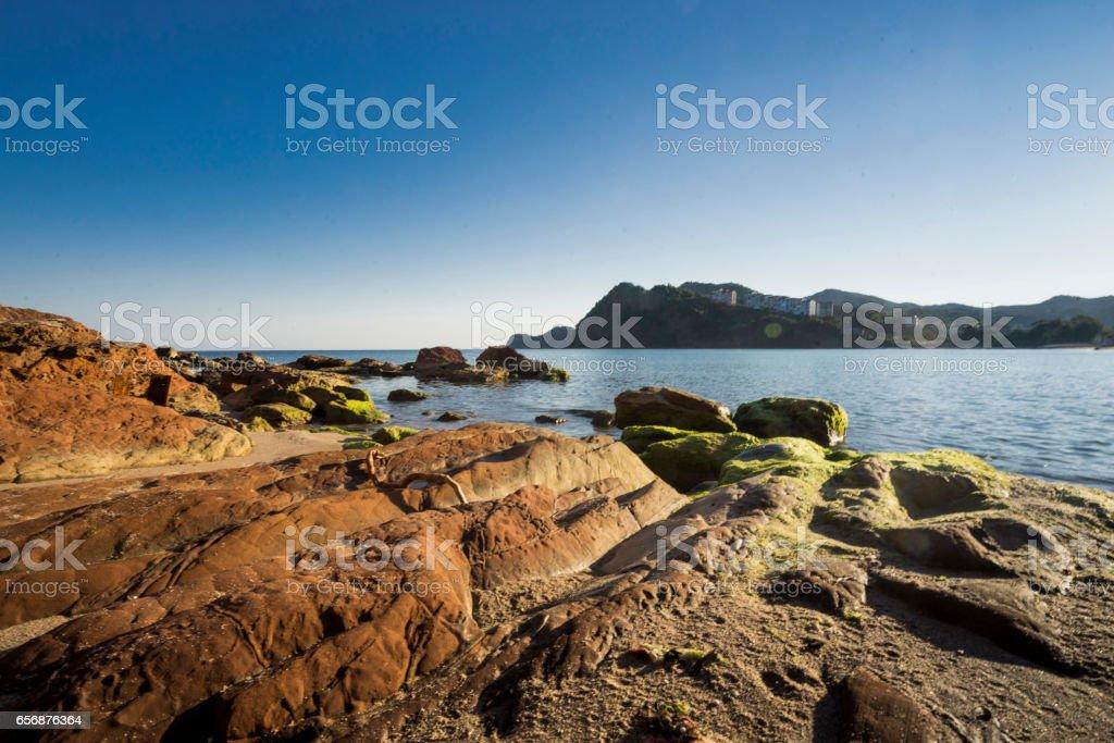 View from the rocky sea stok fotoğrafı