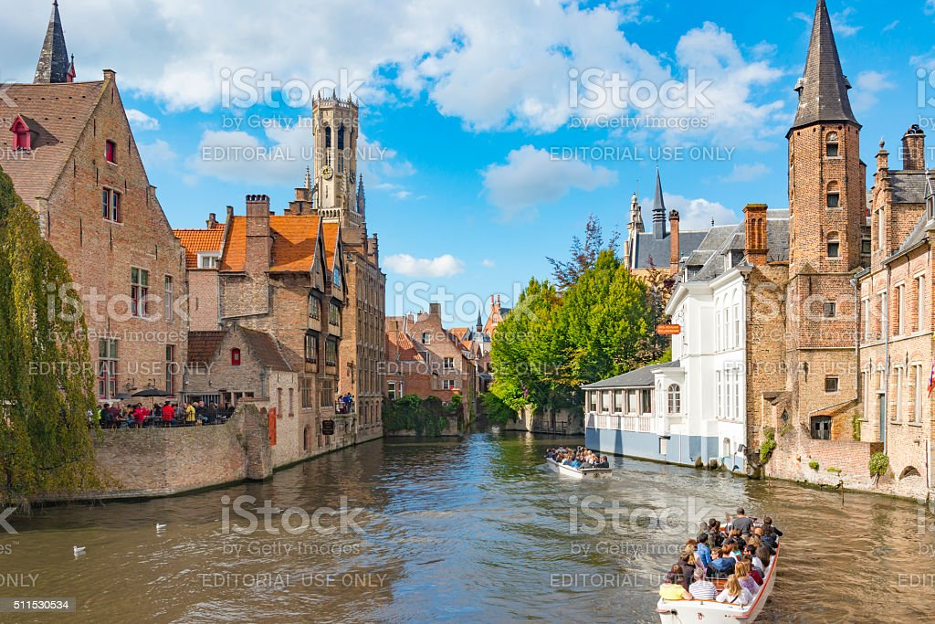 View from the Rozenhoedkaai in Brugge stock photo