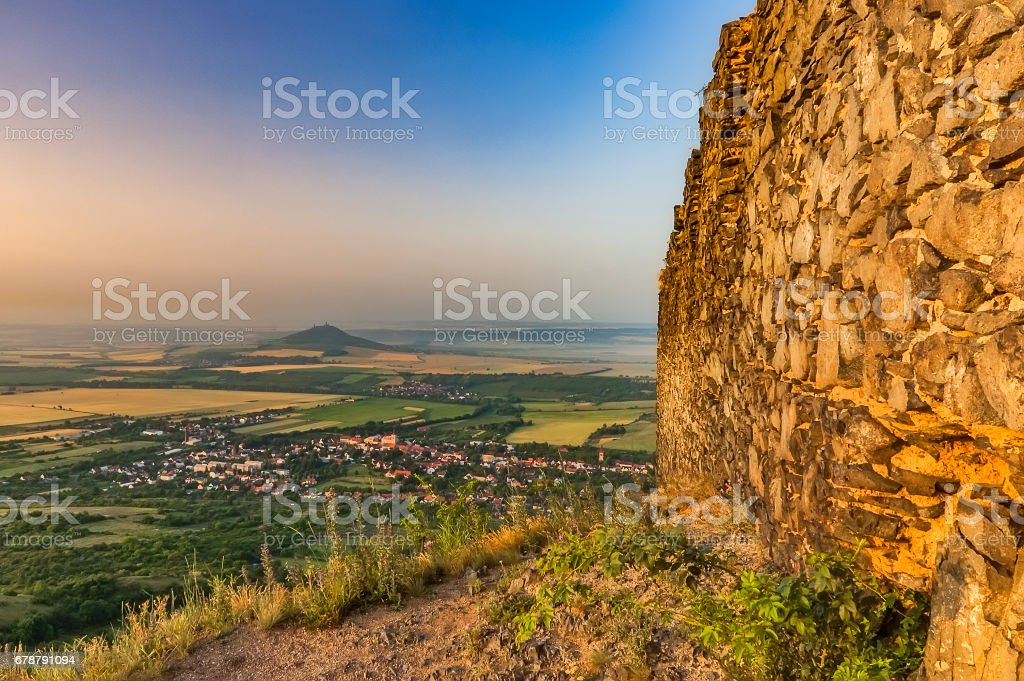 View from the Ruins of Kostalov Castle royalty-free stock photo