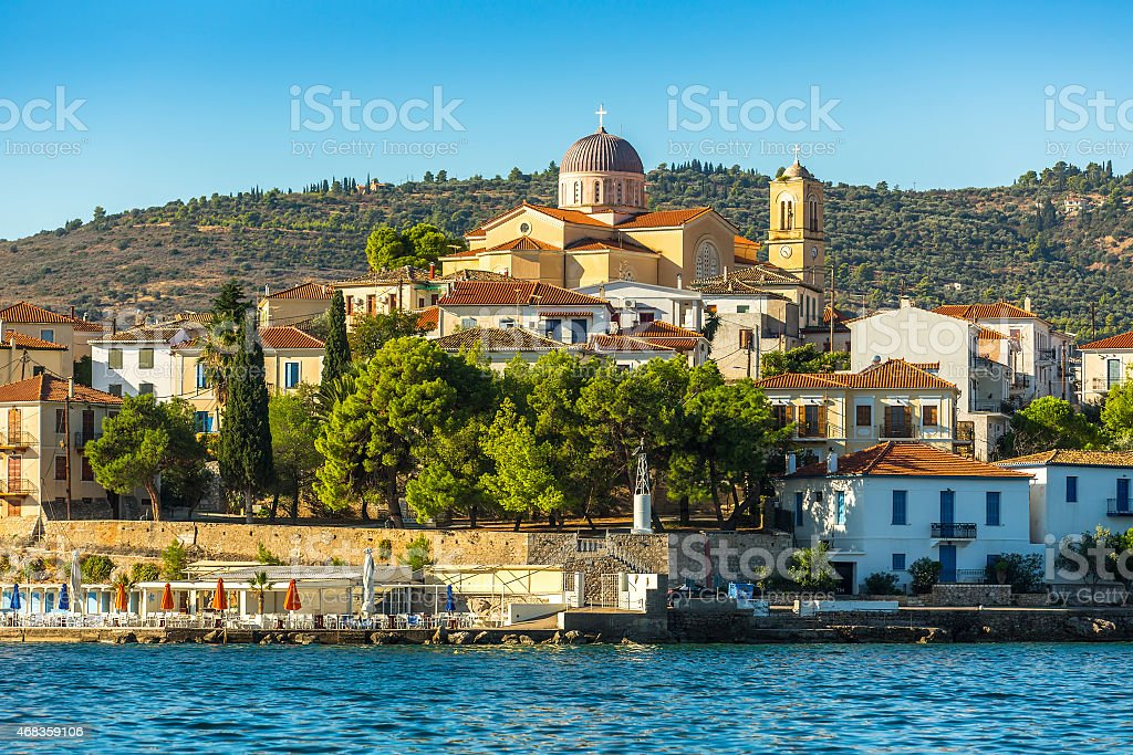 View from the sea of buildings of harbor Galaxidi, Greece. royalty-free stock photo