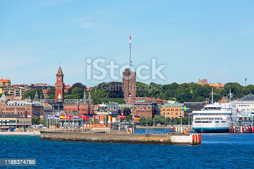 istock View from the sea of the city, Helsingborg City Hall, passenger ferry in the port, Helsingborg, Sweden 1168374765