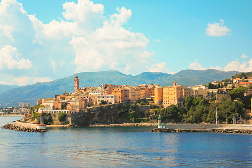 View from the sea of the old port of Bastia, Corsica, France.