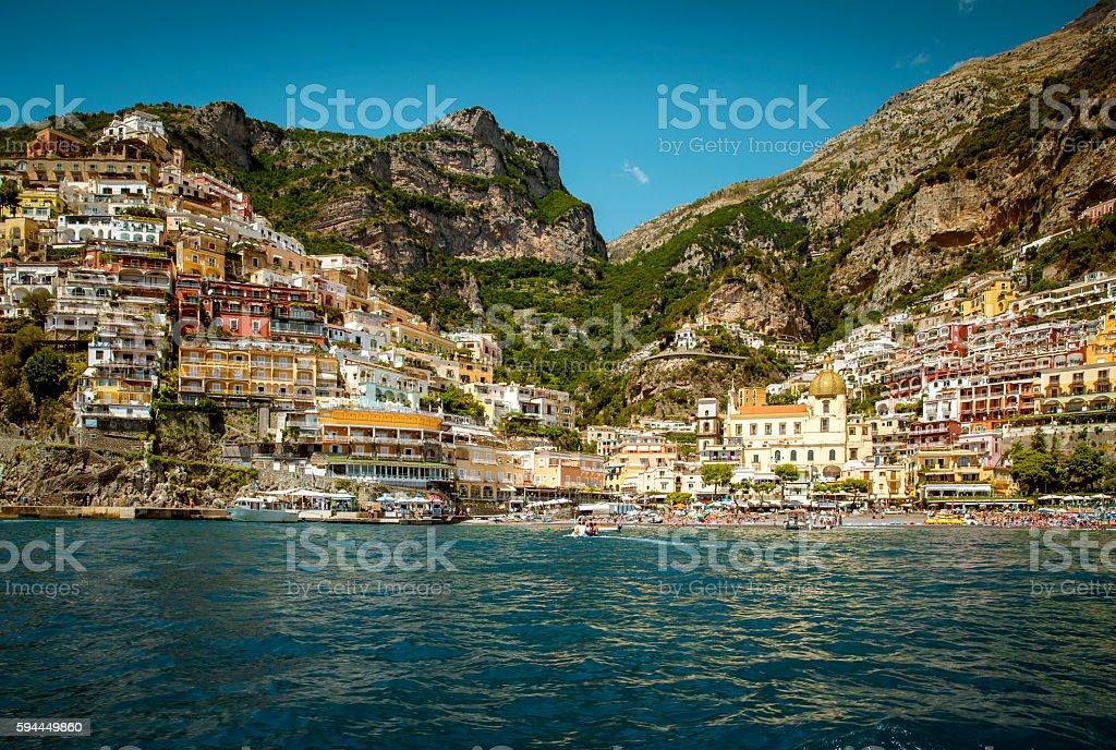 View from the sea on Positano - Amalfi Coast, Campania, stock photo