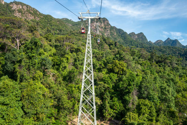 View from the Sky Cab in Langkawi, Malysia. stock photo