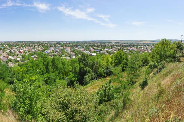 小さなクバン川市のクリムスクのクラスノダール地域の斜面からの眺め - クラスノダール市 ストックフォトと画像