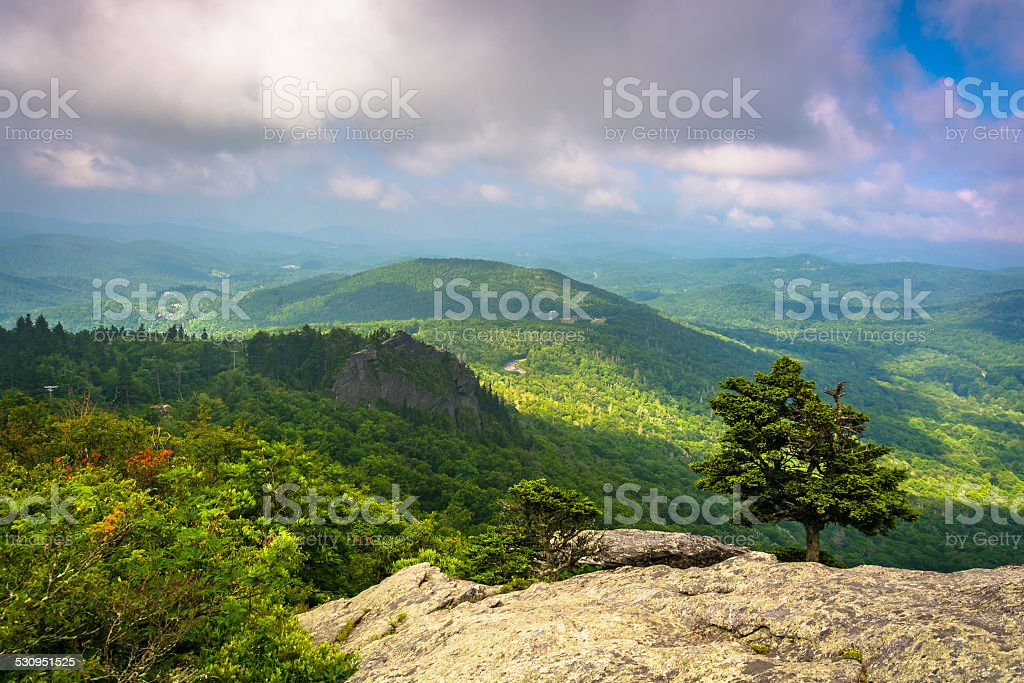 View from the slopes of Grandfather Mountain, near Linville, Nor stock photo