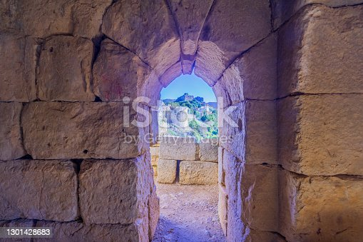 View from the interior of the southwest tower, in the Medieval Nimrod Fortress, the Golan Heights, Northern Israel